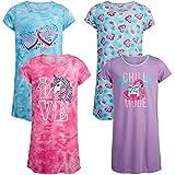 Rene Rofe Girls' Pajamas - Short Sleeve Sleep Shirt Nightgown (4 Pack), Size 10/12, Tie Dye/Chill Mode
