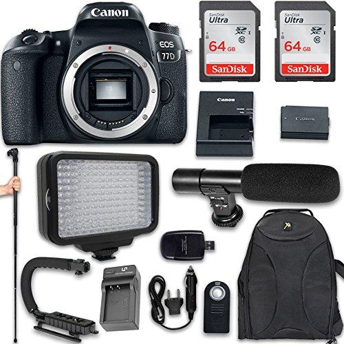 Canon EOS 77D DSLR Camera (Body Only) + 120 LED Video Light + Large Monopod + 128GB Memory + Shotgun Microphone + Camera & Flash Grip Handle Stabilizer