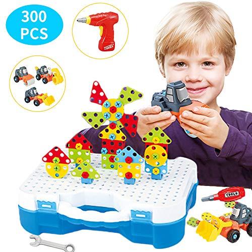 Arkmiido Juguete Mosaico Niños Juguete Construcción para Infantiles Puzzles 3D con Taladro Eléctrico Desmontable, Juguetes Multiusos Herramienta 300 Piezas Educativos para Niños Niñas Regalo