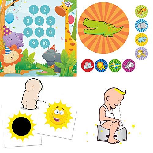 Töpfchen-Trainer für Kleinkinder - Toiletten Aufkleber verfärbende Sonne + Belohnungsprogramm Partytiere mit grossen Tier-Stickern