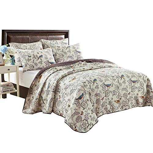 """EAVD Antique Chic Reversible 100% Cotton 3 pcs Bedding Set 91"""" x 98"""" Quilt with Two Matching Pillowcases Country Style Coverlet Birds Floral Bedspread Queen Size"""