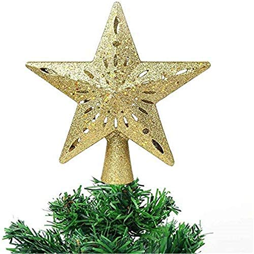 X1n design 3D Hollow Star Christmas Tree Topper LED Snowflake Projector Lights Decoration,Lighted Sparkling Silver Star Tree Topper with Rotating Cool White Snowflake Projector Gold