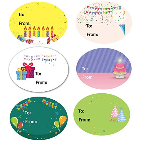 Happy Birthday Gift Tag Stickers for Presents 6 Different Unique Cute Designs 1.5 x 2 Inch 300 Adhesive Labels On A Roll for Birthday, Party, Baby Shower Christmas Festival Holiday Decorative Presents