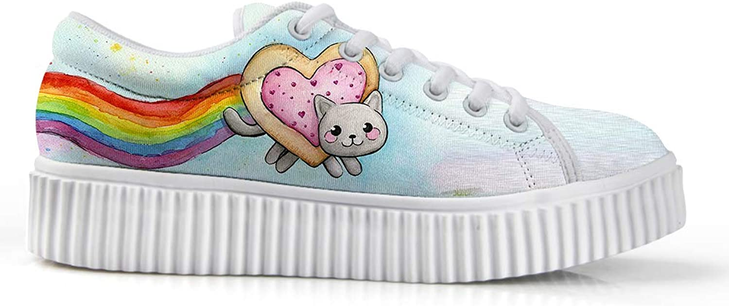Owaheson Platform Lace up Sneaker Casual Chunky Walking shoes Low Top Women Heart Biscuit Rainbow Kitten Cat