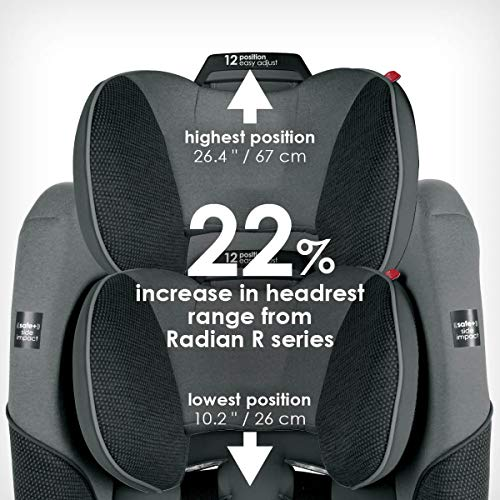 Diono Radian 3QXT 4-in-1 Rear and Forward Facing Convertible Car Seat, Safe Plus Engineering, 4 Stage Infant Protection, 10 Years 1 Car Seat, Slim Design - Fits 3 Across, Gray Slate