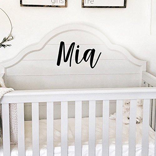 Autocollant mural en vinyle avec nom de fille – Nom du texte « MIA » – 30,5 x 48,3 cm – Stickers muraux en vinyle pour chambre de bébé fille – Stickers muraux mignons pour décoration de chambre d'enfant (30,5 x 48,3 cm, noir cursive)