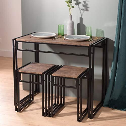 Furnish 1 Juego de Comedor Moderno de Madera de 3 Piezas Colección Studio Mesa de Comedor Soho con Dos taburetes Mesa de Desayuno de Cocina para el hogar, marrón