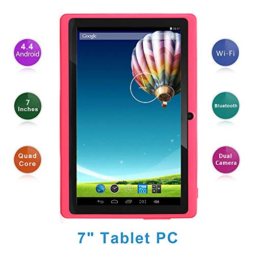 Haehne 7 Zoll Tablet PC, Google Android 4.4, A33 Quad Core, 512MB RAM 8GB ROM, Dual Kameras, WiFi, Bluetooth, für Erwachsener Kinder, Pink