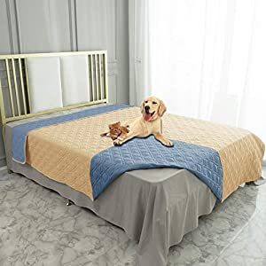 Ameritex Waterproof Dog Bed Cover Pet Blanket for Furniture Bed Couch Sofa Reversible (68×82 Inches, Sand+Stoneblue)