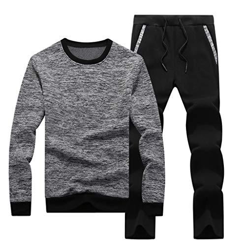 SUCES Herren Sportbekleidung Männer Kapuze Trainingsanzug Lange Ärmel Jogginganzug Bequem Fitness T-Shirt Hosen Set (Grau,M)