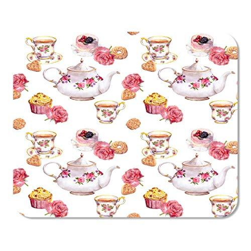 Mousepad Computer Notepad Büro Teatime Teekanne Teetasse Kuchen und Blumen Muster Wasser Home School Game Player Computer Worker Inch