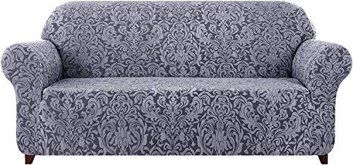 subrtex Damast Sofabezug Stretch Sofahusse Couchbezug Sesselbezug Elastischer Blumenmuster Antirutsch Stretchhusse für Sofa (3 Sitzer, Grau Muster)