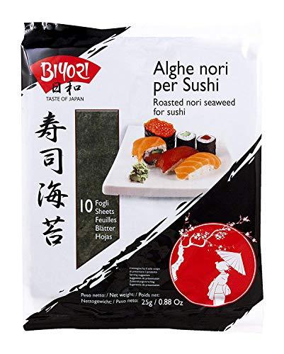 Biyori - Alghe Nori per Sushi - 20 Fogli di Alghe Tostate ed Essiccate Pronte all'Uso - Per Preparazione Sushi o per Cottura Brodi, Legumi e Stufati - Non necessita di Cottura - 2 Confezioni da 25 g