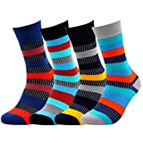 Colorful BAMBOO Socks for MEN WOMEN - Natural Silken Soft Seamless Casual or Dress Socks (Color Stripes)