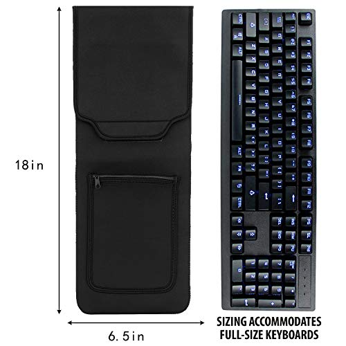 KuRoKo Keyboard Neoprene Sleeve Case(up to 18 Inches), with Wireless Mouse Storage & Cable and Charger Pouch (Black)