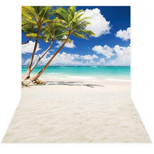 Allenjoy Tropical Seaside Beach Backdrop Summer Hawaii Island Palm Trees Photography Background for Boys Girls Adults Portrait Holiday Travel Happy Birthday Party Dceor Banner 3x5ft Photo Booth Props