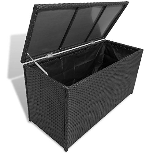 Tidyard Coffre de Stockage | Coffre de Jardin | Coffre de Rangement Exterieur | Caisse de Jardin en Rotin Synthétique Noir 120 x 50 x 60 cm