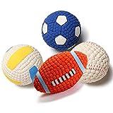 Pelota de Juguete para Mascotas, Pelota de látex interactiva, Juguete de Perro de Rugby con Dientes limpios, Voleibol, Tenis, fútbol, Rugby, 4 pzas.