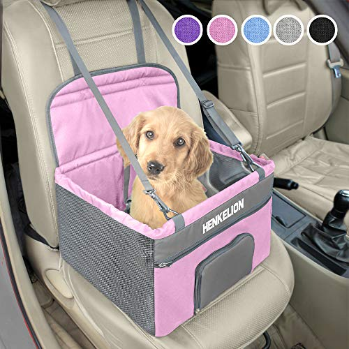 Henkelion Small Dog Car Seat, Dog Booster Seat for Car Front Seat, Pet Booster Car Seat for Small Dogs Medium Dogs Within 30 lbs, Reinforced Dog Car Booster Seat Harness with Seat Belt - Pink