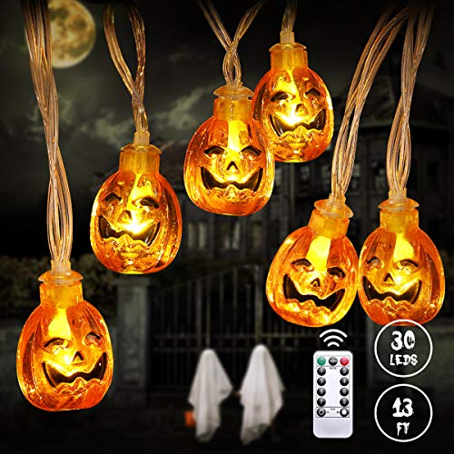 YUNLIGHTS Halloween Pumpkin String Lights, 13FT 30 LED Halloween Decoration Lights with 8 Lighting Modes & Remote Control, Battery Operated Jack-O-Lantern Lights for Outdoor Indoor Halloween Party