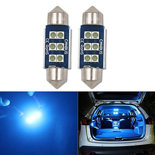 HSUN Bombilla LED Festoon C5W de 36 mm, 12 V-14 V 6411 6413 6418 6461 6486X DE3423 DE3425 6LED SMD3030 Chip para lectura de mapas interiores luz y más, paquete de 2, azul hielo