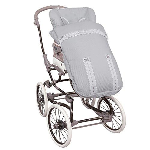 Saco de Bebé Universal Silla PIQUÉ ALTA GAMA GRIS + Cubre Arnés de regalo, desmontable, tejido trasero 3D