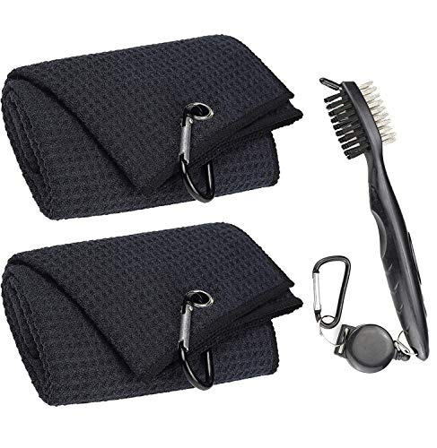Aebor Golf Towels, Microfiber Waffle Pattern Tri-fold Golf Towel - Brush Tool Kit with Club Groove Cleaner, with Clip...
