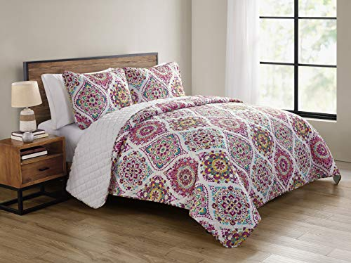 VCNY Home Danielle Collection Quilt Set-Ultra-Soft Reversible Coverlet Bedding-Lightweight, Cool, and Breathable Bedspread, Machine Washable, Queen, Multi