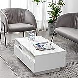 Mesa de centro blanca, mesa auxiliar de alto brillo con 4 cajones y 2 estantes abiertos, mesa de centro blanco brillo, mesa de sofá moderna para sala de estar, oficina, muebles de sala, 85x53x35cm
