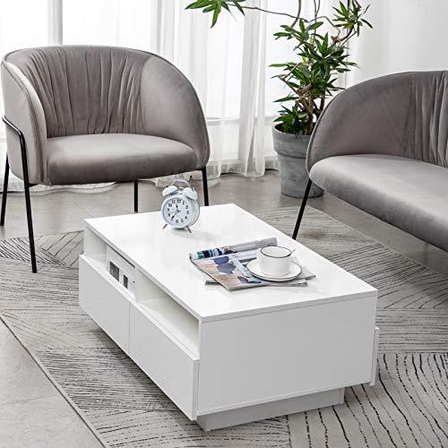 Tavolino da salotto, lucido, con 4 cassetti, illuminazione a LED, design moderno, per soggiorno, ufficio