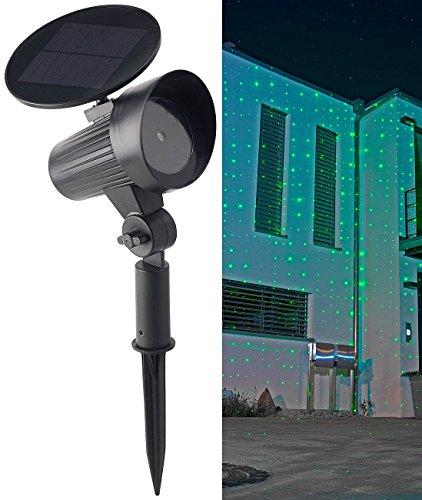 Lunartec Gartenlaser: Solar-Laser-Projektor mit grünem Sternenmeer-Effekt, IP44 (Laser Projektor Garten)