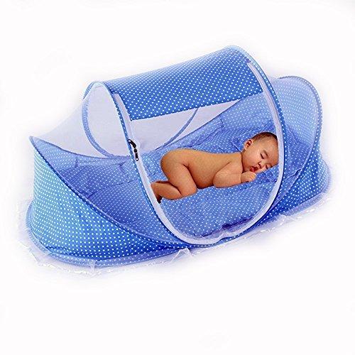 CHRISLZ Summer Mosquito Net for Children,Portable Folding Baby Travel Bed Crib Baby Cots Newborn Foldable Crib (Blue)