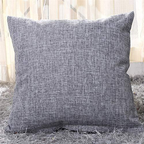 Nett Durable Throw Pillows, Artificial Linen Throw Pillow Covers Pure Color Decoration Decorative Throw Pillows, for Sofa Beds, Etc. gift (Color : Deep Gray, Size : 50cm x 50cm 4pcs)