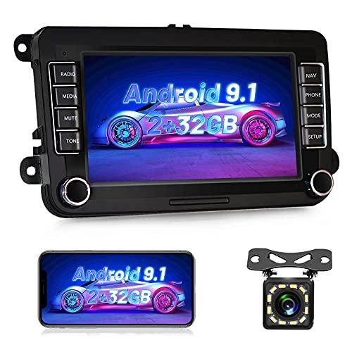 NHOPEEW Radio de Coche 2 DIN Android 9.1 [2G+32G] Versión Car Estéreo 7 Pulgadas Pantalla Táctil para VW Golf V VI Passat B6 Polo Skoda con GPS/WiFi/Bluetooth/RDS/Mirrorlink + Cámara de visión trasera