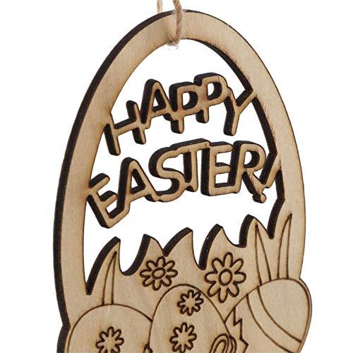 GLJYG 10 pezzi di legno uova di Pasqua pasquali pendenti ornamenti decorativi per albero di Pasqua da appendere decorazioni fai da te in legno, stile 5