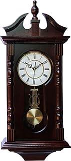 Wall Clocks: Grandfather Wood Wall Clock with Chime. Pendulum Wood Traditional Clock...
