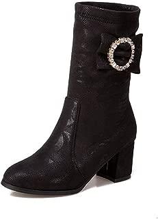 DETAWIN Women Winter Mid Calf Boots Round Toe Crystal Bowties Fashion Slip-On Chunky Block High Heel Boot