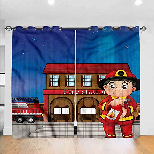 Zara Henry AbstractBedroom Curtains Living Room Curtains Kitchen Curtains Office Curtains Dark Curtain Fire Station Extinguisher The Best Choice for Bedroom and Living Room W120 x L84