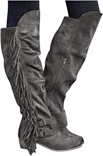 Women's Knee Length Boots Retro Tassle Combat Style Knight Shoes Closed Toe Motorcycle Low Heel Outdoor Waterproof Western Shoes