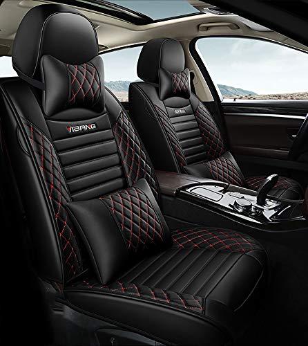 Preisvergleich Produktbild Universal-5 Autositzbezüge Kissen für Limousine SUV und Kleinlastwagen Kompatibel mit Evoque XC40 XC60 Golf Passat Jetta CT4 CT6 - Full Set, Black red
