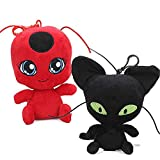 Ladybug Plagg & Tikki Cat Noir Plush Toy Adrien Marinette Filled Animal Doll - 2 Pieces/Set