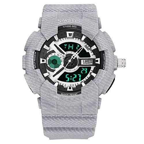 GUOJIAYI Reloj digital para hombre, impermeable, con doble pantalla, cronógrafo, electrónico, regalo de mano para hombres