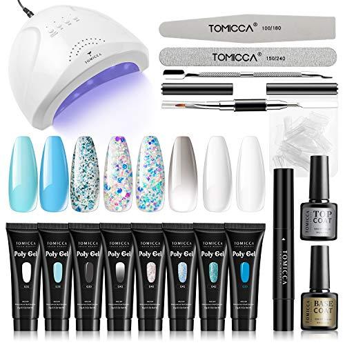 TOMICCA Nageltrockner 48W UV LED Lampe Set für Gelnägel, 8 Stück Polygel Starterset mit UV Soak-off Basislack und Decklack, Upgrade Slip Solution Pen Classic Klar Weiß Blau Gel Builder Erweiterungsset