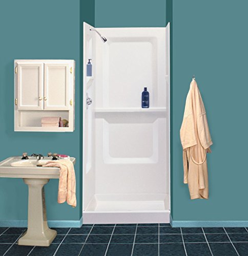 Mustee 732WHT Durawall Fiberglass Walls for Square Showers, White