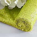 Fabric by The Yard Sequin Fabric Glitter FabricShowerCurtain Lining Fabric by The Yard for Dress Clothing DIY Sewing Material (1 Yard, Lime Green)