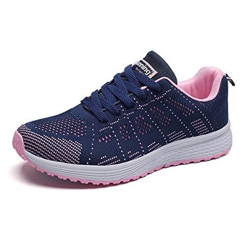 Zapatillas Deportivas Mujer Sneakers Zapatos para Correr para Niña Mujeres Running Zapatos Casuales de Mujer Ligero Respirable Atarse Azul Talla 35