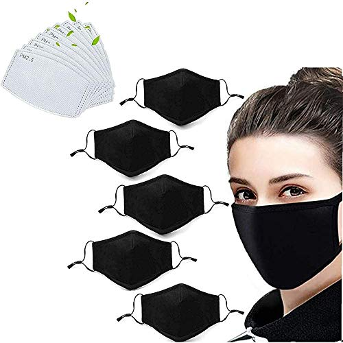 5 Pack Unisex Fashion Stretch Lightweight Cotton Covering Face and Mouth Reusable Washable Adjustable 3 Ply With 10PC Replacement Filters