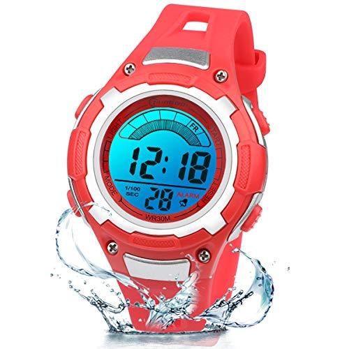 Kinderuhr Digitale für Jungen Mädchen,7 Farbe LED Wasserdicht Kinder Armbanduhr Sport Multifunktions mit Alarm Armbanduhr für Jungen Mädchen Alter 3-12 als Geschenk (Rot)