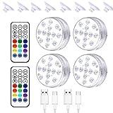 iBaste Luz sumergible – Iluminación LED subacuática para piscina magnética impermeable con mando a distancia, luz subacuática recargable por USB
