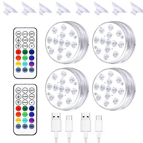 powers Pond Lights LED Submersible Spotlight,Wiederaufladbare USB-Schwimmbadlampe,IP68 wasserdichte HF-Fernbedienung Für Schwimmbäder, Fischtanks, Inneneinrichtung Und Beleuchtung
